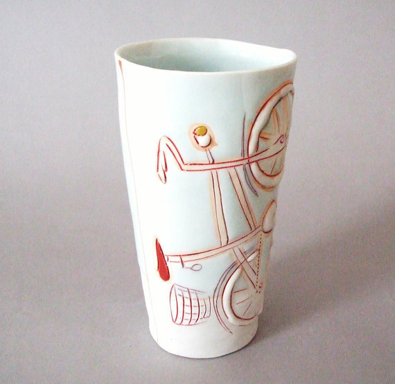 Tall porcelain tumbler with translucent bottom by stepanka on Etsy