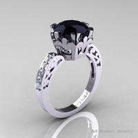 Modern Renaissance 14K White Gold 3.0 Carat Black and White Diamond Solitaire Ring R402-14KWGDBD