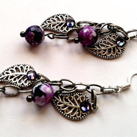 Beautiful dangle earrings with antiqued silver by Peachykeenthings