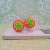 NEW Bright Orange Polka Dots with Neon Green Rose Earbuds