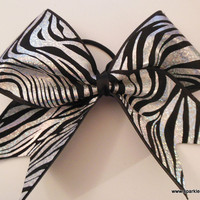 Black and Silver Foil Zebra Cheer Hair Bow Cheerleading