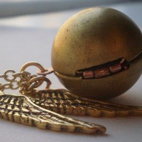 Golden snitch locket necklace by littlepancakes on Etsy