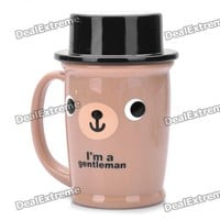 Cute ABS Gentleman Bear Mug Cup w/ Lid - Coffee + Black (100ml) - Free Shipping - DealExtreme