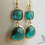 SALE, 10% OFF: Emerald green framed glass earrings in gold, dangle earrings, drop earrings, chandelier earrings