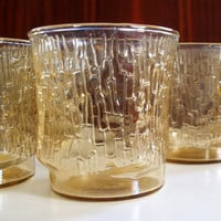 GLITTERING GOLD GLASS Vintage Amber Drinking Glasses Mid Century 60s Lowball Service for Six Retro Kitchen