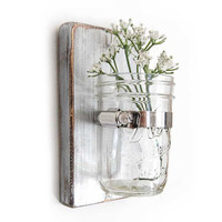 shabby vase wooden wall single vase mason jar floral Metallic Silver