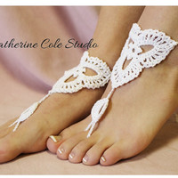 Barefoot sandals Scallop design handmade 100% cotton great for beach wedding summer slave sandals foot jewelry  Catherine Cole BF-6