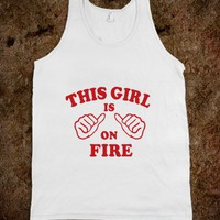 This Girl is on Fire Thumbs Red - Awesome fun #$!!*& - Skreened T-shirts, Organic Shirts, Hoodies, Kids Tees, Baby One-Pieces and Tote Bags