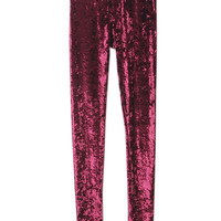 Classic Gold Velvet Wine-red Leggings [NCSPL0167] - $21.99 :