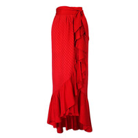 1970s YSL Flamenco Silk Skirt with Sash