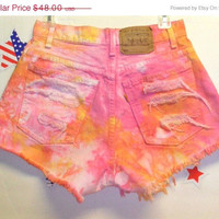 ON SALE Vintage Levis High Waisted TIE  Dyed by GypsysTreasureCove