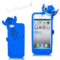 Disney Stitch Hide and Seek Silicone Case Cover for Iphone 5 - Blue: Cell Phones &amp; Accessories