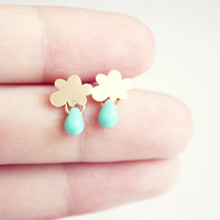 rain   gold tiny cloud and turquoise drop earring by PetiteCo