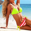 Lime Halter Top & Striped Side-tie Bottom — Faboutique