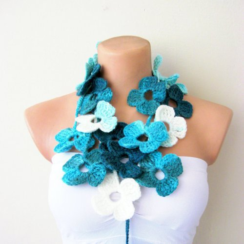 Turquoise White Flower Hand Crochet Lariat Scarf | Missglory - Accessories on ArtFire