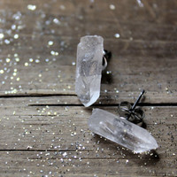 Familiar. Rustic Quartz Crystal Specimen Stud Earrings.