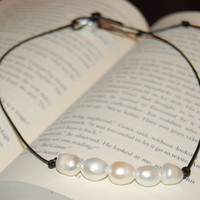Freshwater Pearl Leather Necklace  Rice by authenticaboutique
