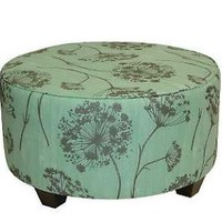Round Upholstered Queen Anne&#x27;s Lace Cocktail Ottoman 