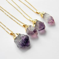 Amethyst Point Necklace  Amethyst Crystal Necklace  by DanaCastle