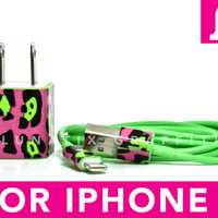 DOUBLE TROUBLE iPhone 5 Charger - Funky Cheetah Print on Green iPhone 5 Charger