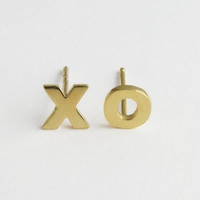 XO Earrings - Gold Plated XO Studs - Hugs and Kisses