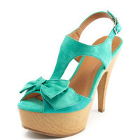 Charlotte Russe - T-Strap Bow Platform Sandal