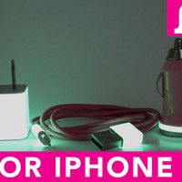 3in1 Glow in the Dark Pink iPhone 5 Charger - iPad Mini Charger - iPod Charger