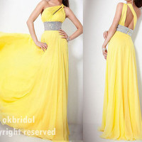 RE068 fashion popular one shoulder fancy yellow by okbridal