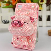 ladylove — lovely solid cartoon pig Rhinestone case for iphone 4/4s