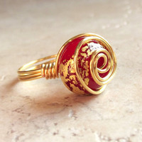 Red & Gold Ring:  Gold Leaf Spiral Wire Wrapped Jewelry, Cherry Red Glass Ring
