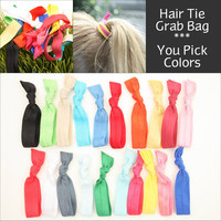 Yoga Hair Tie Grab Bag (20) No Crease Knotted Elastic Hair Ties, Double as Bracelets - Emi Jay Like Fabric Hair Bands, Fashion Accessories