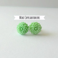 Mint Green Chrysanthemum Flower Earrings - Girls Jewelry // Spring Jewelry // Shabby Chic Jewelry