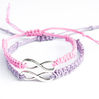 Infinity Friendship Bracelets Lavender and Pink Hemp