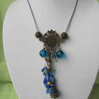 Necklace Steampunk Blue and Brass Beaded Mixed Media Corded Pendant Necklace