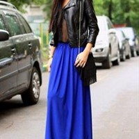 Royal Blue Chiffon Maxi Skirt. Fall Winter Long Skirt from Letsglamup
