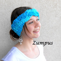 Womens Braided Headband Earwarmer Headwrap- Bright Blue Turquois Braid Design