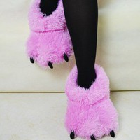 Pink Fuzzy Bear Paw Animal Slippers size M