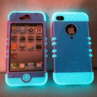 Amazon.com: Iphone 4 4s Case Ishield Hybrid Snap on Glow in the Dark with Transparent Pink: Cell Phones & Accessories