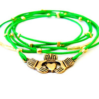 Claddagh Bracelet Set(Gold and Green)