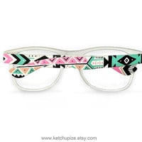 Aztec print glasses Tribal trend fashion glasses unique hand painted - pastel pink mint natural black