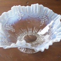 Victorian Jefferson Glass Opalescent Grapes and Vines Pedestal Dish
