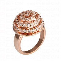 White Diamond Cake Gilded Ring - Diamond Rings - Rings - Jewelry