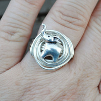 Wire Wrapped Ring Silver Elephant