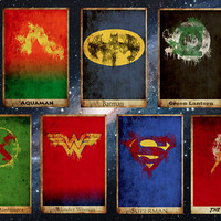 Movie poster movie art film print art poster print All 7 Justice League Posters (11x17 size)