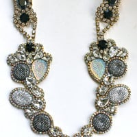 Seuart in Color Block (Metallic) -  One of a Kind Statement Necklace