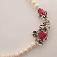 Pearls Necklace Sterling Silver Pendant Red Blood Topaz
