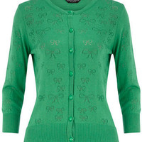 Green bow pointelle cardigan - Knitwear & Cardigans - Clothing - Dorothy Perkins