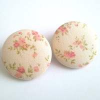 Vintage inspired off white and pink floral button earrings