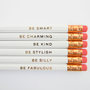 Gentle Reminders Pencils- White, Set of 6