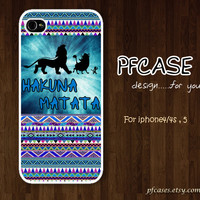 HAKUNA MATATA on aztec pattern : Handmade Case for Iphone 4/4s , Iphone 5 Case Iphone